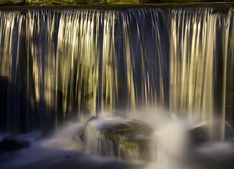 Cascade, Night, Green, Nature, River, Water Courses