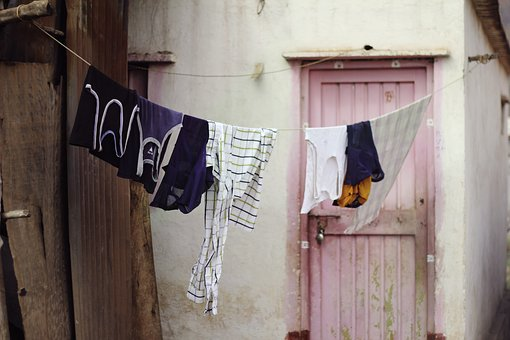 Laundry, Hanging, Clothing Line, Pink Door