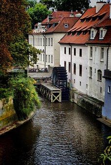Prague, Kampa, River, Water Mill, Houses