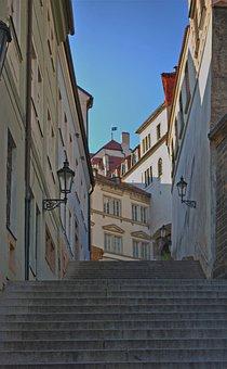 Prague, City, Stairs, Sky, Houses, Street
