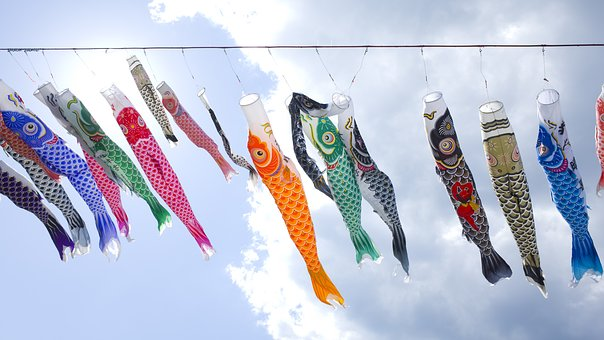 Sky, Carp, Japan, Fish, Vivid, K, Landscape