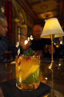 Cocktail, Night, Lamp, Glass, Mint, Straw, Bar, Lemon