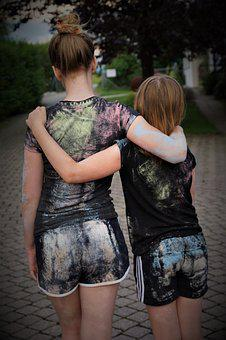Colorful, Light, Chalk, Childhood, Brothers And Sisters