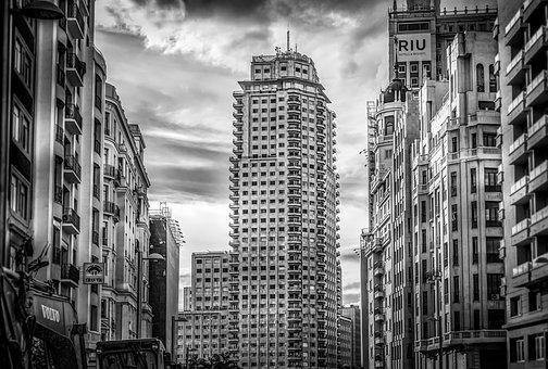 Skyscraper, Madrid, Cityscape, City, Architecture