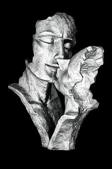 Sculpture, Black And White, Kiss, Love, Man And Woman