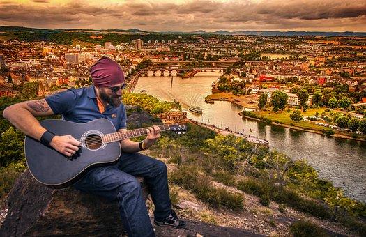 Guitarist, Dusk, Guitar, Man, City, Landscape, Music