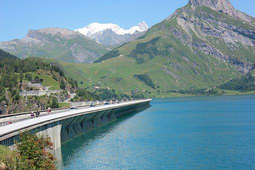 Dam, Mountain, Mont Blanc, Alps, Savoie, Panoramic