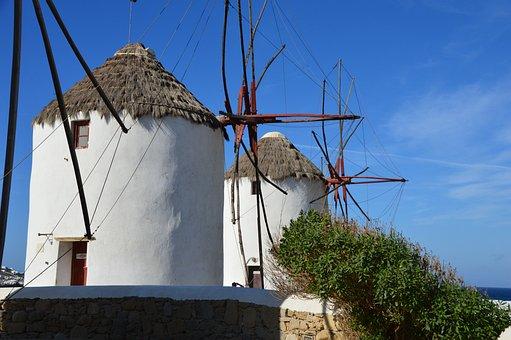 Mykonos, Greece, Windmills, Greek Island, White
