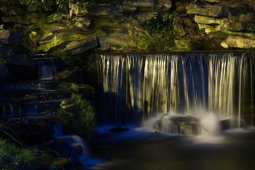 Cascade, Long Exposure, Lights, Nature, River, Night