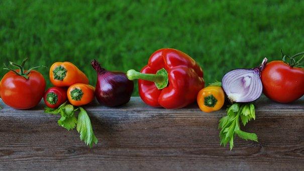 Vegetables, Colorful, Paprika, Tomato, Onion, Garden