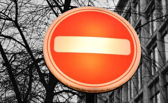 Street, Sign, Orange, No, Entry, Minus, Abstract, Trees