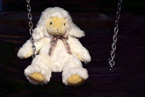 Soft Toy, White, Stuffed Animal, Cute, Swing, Play