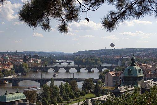 Prague, River, Bridges, Balloon, City, Shipping, Ship
