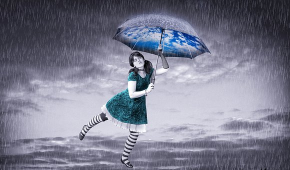 Rain, Girl, Day Rain, Umbrella