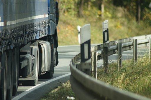 Truck, Road, Guard Rail, Transport, Freight Transport