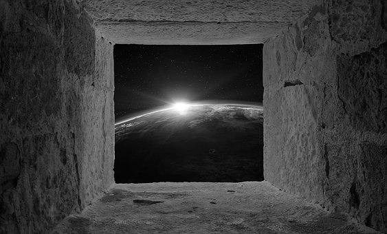 Space, Ancient, Black, White, Earth, Nobody, Wall, Aged