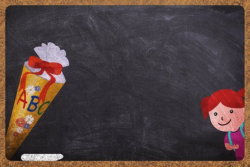 Schultüte, Student, Board, Background Image, Chalk