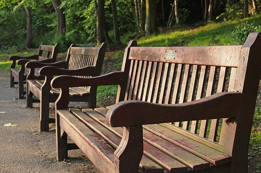 Park Benches, Sun, Wooden, Outdoor, Quiet, Peaceful