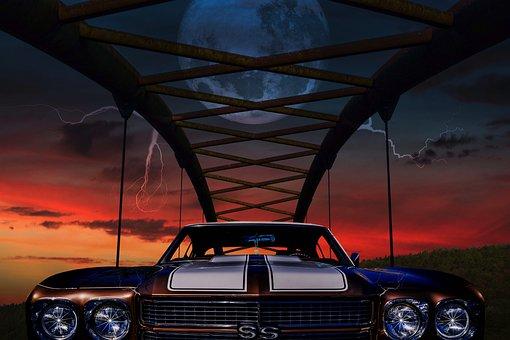 Car, Sunset, Photoshop, Composing, Bridge, Auto, Us Car