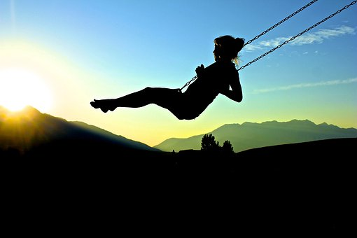 Silhouette, Summer, Sunset, Leisure, Young, Happy