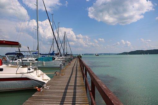 Pier, Ship, Sailing, Plot, Lake Balaton, Waterfront