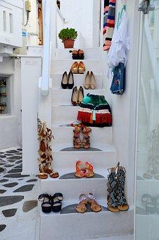 Mykonos, Stairs, Shoes, Shopping, Tourism, White, Sun