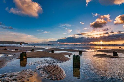 Filey, Beach, Sunrise, Yorkshire, Golden Hour, Low Tide