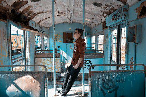 Young, Guy, Train, Abandoned, Ruin, Old