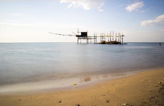 Abruzzo, Overflow, Sea, Trabocchi, Fishing, Italy, Sun
