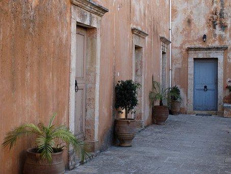 Doors, Greece, Architecture, House, Building