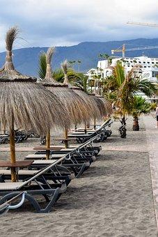 Tenerife, Palm, Beach, Black Sand, Canary, Parasol