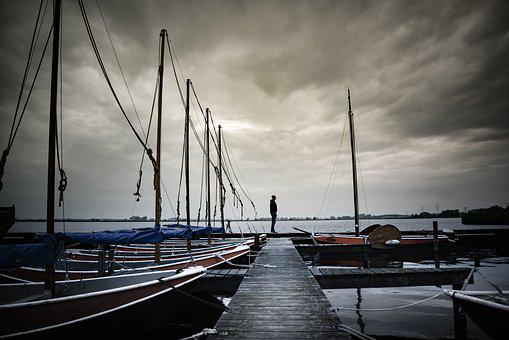 Man, Standing, Harbor, Male, People, Person, Boats