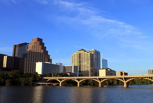 Austin, Texas, Tx, City, Skyline, Buildings, Bridge