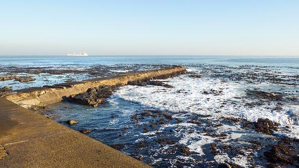 Ship At Anchor, Table Bay, Cape Town, Sea, Coast, Water