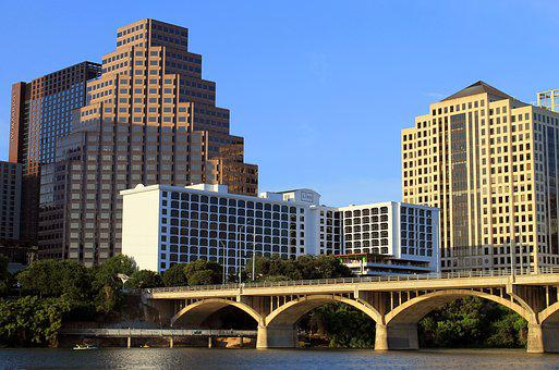 Austin, Texas, Tx, Bridge, Lake, Skyline, City