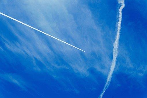 Contrail, Aircraft, Blue, Ausschau, Clouds, Blue Sky