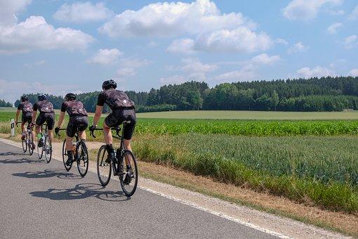 Road Bike, Cyclists, Marathon, Sky, Road, Meadow, Race