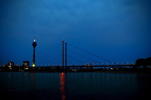 Düsseldorf, Night, Rhine, Rhine River, City