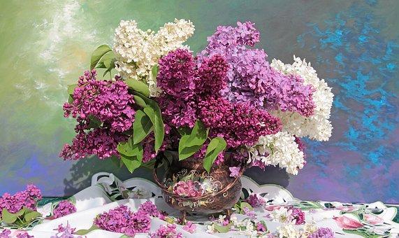 Still Life, Bouquet, Lilac, Flower Vase, Tablecloth