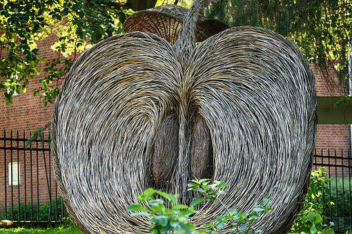 Sculpture, Apple, Garden