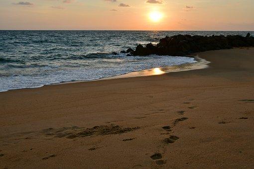 Sunset, Horizon, Beach, Evening Sky, Clouds