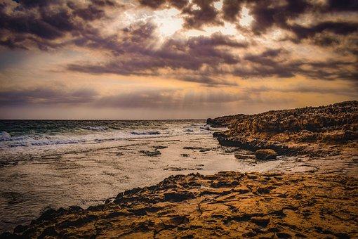 Sunset, Beach, Sea, Water, Horizon, Coast, Landscape