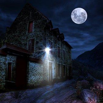 Moonlight, House, Night, Moon, Dark, Halloween, Haunted