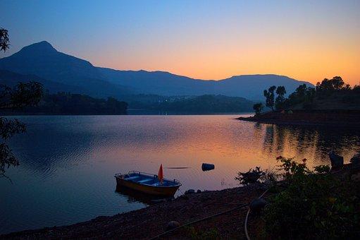 Hill, Lake, Dusk, Boat, Evening