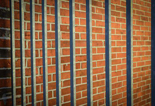 Bars, Brick, Jail, Locked, Wall, Empty, Vintage, Prison