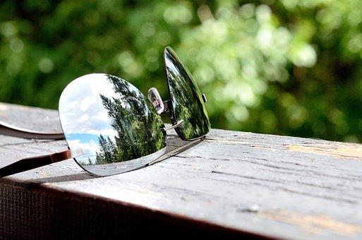 Sunglasses, Macro, Reflection, Bokeh, Summer
