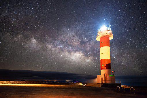 Lighthouse, Night, Coast, Dark, Lights, Star, Milky Way