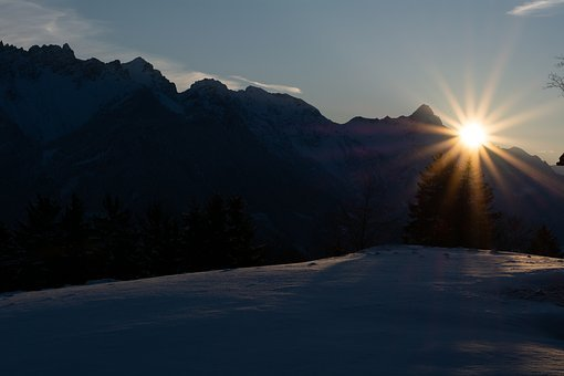 Sunrise, Spring, Mountains, Nature, Landscape, Sun