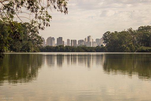 Park, Lake, Nature, Groupie, Water, Buildings, Sky