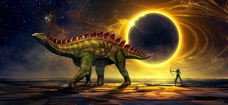 Fantasy, Science Fiction, Dinosaur, Solar Eclipse